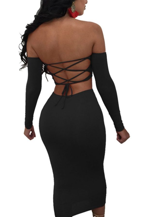 Whatcha Du In Back Lace-Up Sexy Bodycon Off The Shoulder Pencil Dress