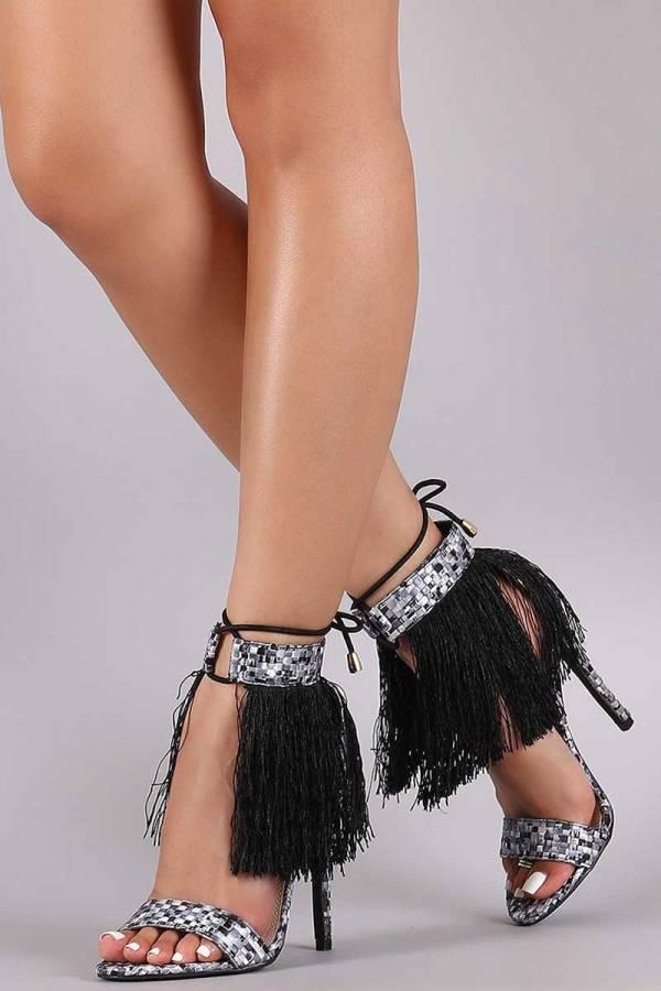 liliana Woven Pixel Fringe Ankle Tie Open Toe Stiletto Heel black