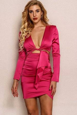 Think of Kylie Structured Shoulder Mini Bodycon Dress