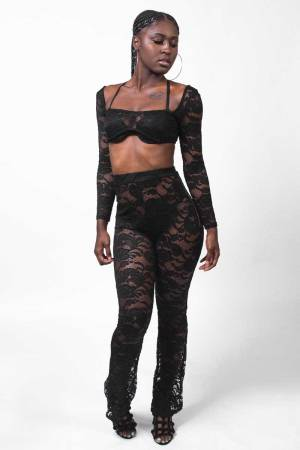 This What Happens Black Sheer Lace Pants Set