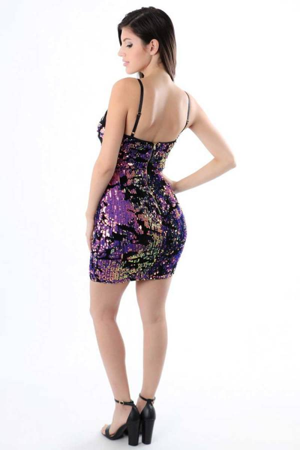 Another Awesome Endeavor Iridescent Sequin Purple Dress