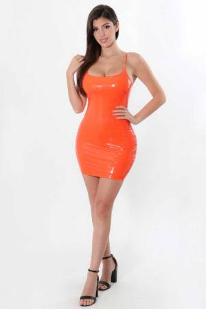 Tangerine Tantrums Liquid Latex Dress