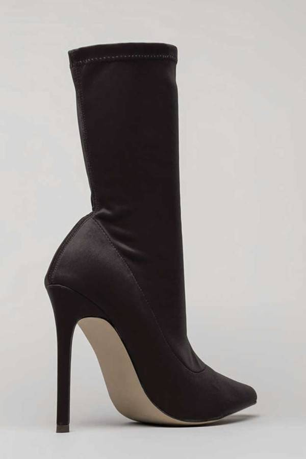 Black Pointy Toe Sock Ankle Boot Stiletto Heel Bootie