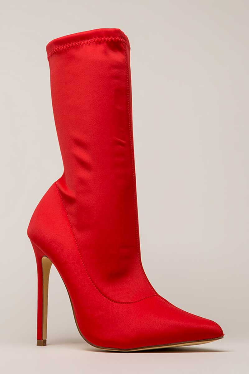 Liliana Angie-13 Pointy Toe Sock Bootie Red
