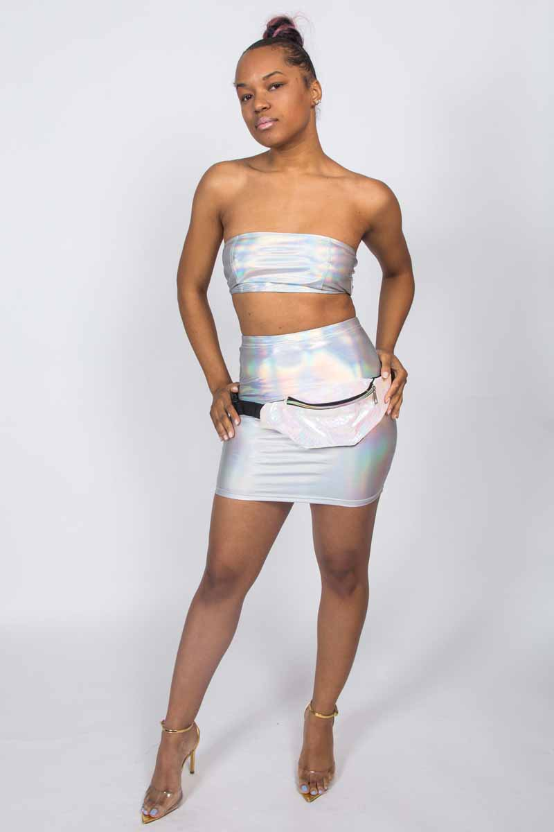 All I Am Metallic Iridescent Tube Skirt Set
