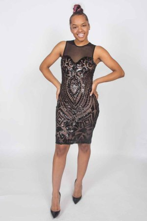 Carpe Diem Sequin Mesh Black Bodycon Dress