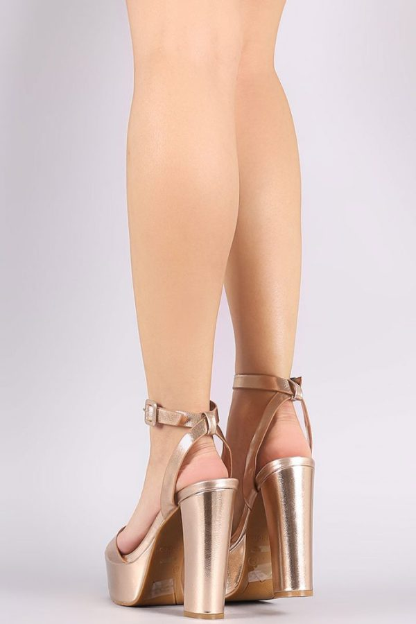 Bamboo Admire-09S Ankle Strap Gold Chunky Platform Heel