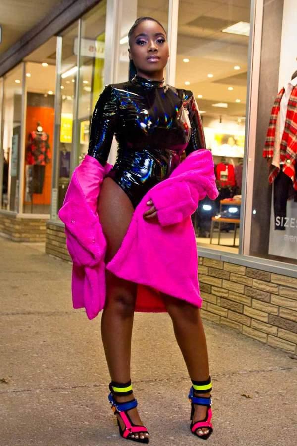 Slick Wit It Liquid Latex Faux Leather Black Bodysuit