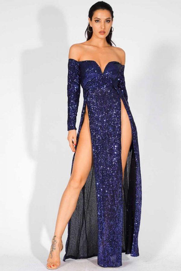 La Bella V Neck Deep Slit Sparkle Sequin Maxi Dress