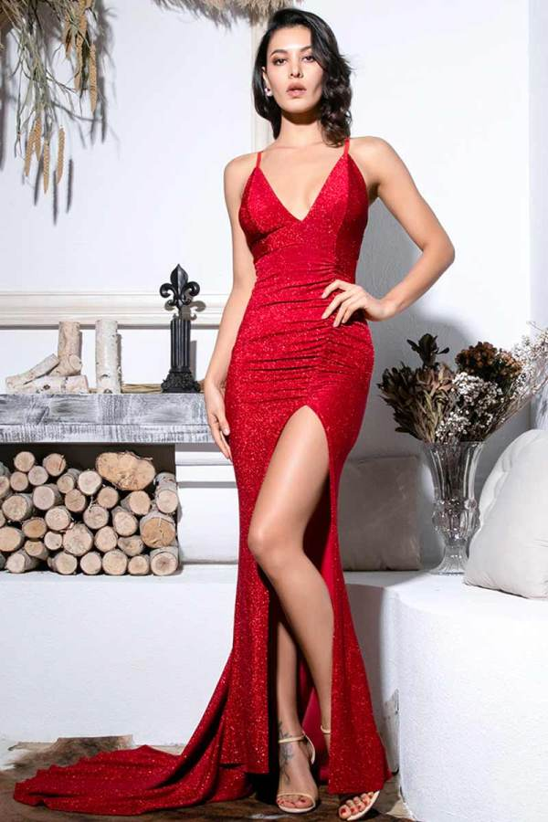 Red Deep V-Neck Cut Out Bodycon Shiny Elastic Fabric Maxi Dress