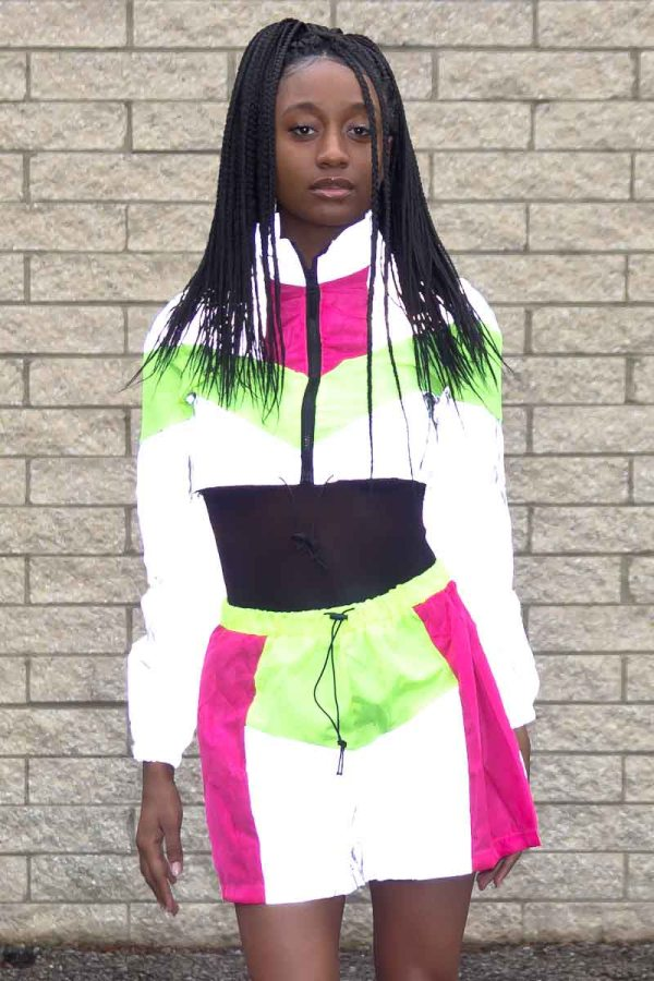 Night Vision Reflective Patchwork Two-Piece Tracksuit
