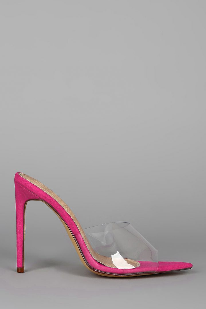 """These trendy mules feature a transparent band, pointed open toe silhouette, wrapped stiletto heel, and a lightly cushioned insole. Measurement Heel Height: 4.75"""" (approx.)"""