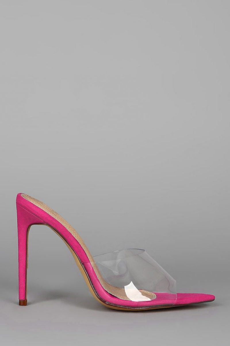 "These trendy mules feature a transparent band, pointed open toe silhouette, wrapped stiletto heel, and a lightly cushioned insole. Measurement Heel Height: 4.75"" (approx.)"