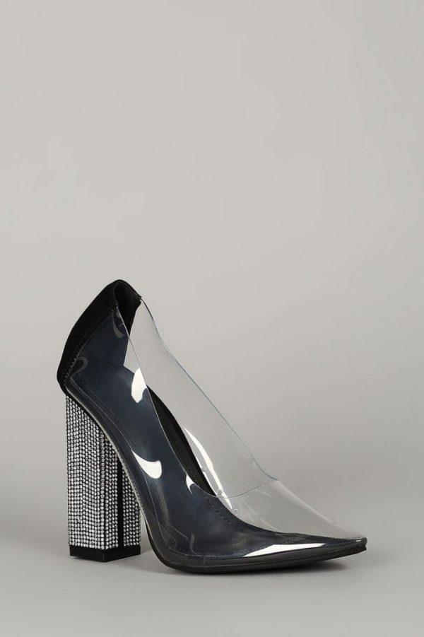 Transparent Pointy Toe Square Rhinestone Heel Pump