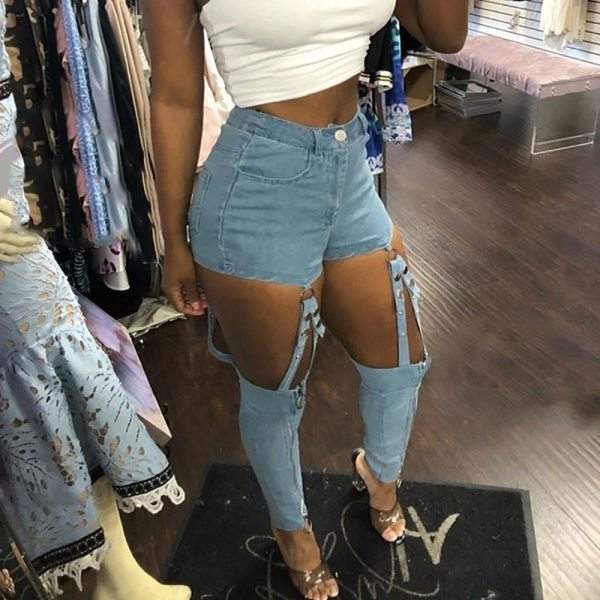 Mina Amour Cut-Out Strappy Denim Pants
