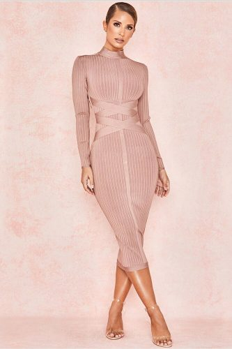 Slim Long Sleeve Cross Strap Bandage Dress