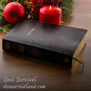 Christmas bible candle