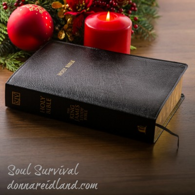 Christmas bible candle