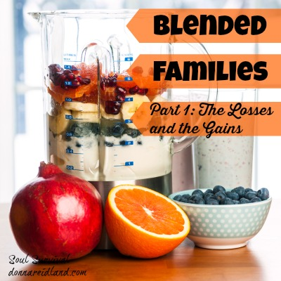 "Blended Families: Part 1 ""The Losses & the Gains"" + LINKUP - Blended families—they're everywhere. Maybe your family is a blended or step-family. If so, you know blended families face unique challenges and issues. They also face the everyday problems of living with other sinners in a world that's been damaged by sin."