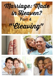 "Marriage: Made in Heaven? Part 4 ""Cleaving"" - The word ""cleave"" in Genesis 2.24 means to cling or adhere; to abide fast; to be joined together."" It means we are to stick like glue to each other. We're to cling to each other in sickness and in health; for richer or for poorer; for better or for worse. We're to stick together in joy and sorrow, good times and bad."
