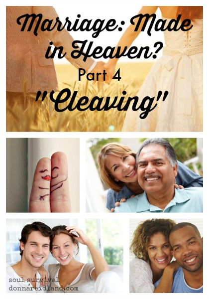 "Marriage: Made in Heaven? Part 4 ""Cleaving"" - The word ""cleave"" in <a class=""bible-gateway"" href=""http://biblegateway.com/passage/?search=%26quot%3BGenesis&version=NIV"" onclick=""biblegwlinkpop(this.href,'""Genesis',800,950);return false;"" target=""_blank"">""Genesis</a> means to cling or adhere; to abide fast; to be joined together."" It means we are to stick like glue to each other. We're to cling to each other in sickness and in health; for richer or for poorer; for better or for worse. We're to stick together in joy and sorrow, good times and bad."