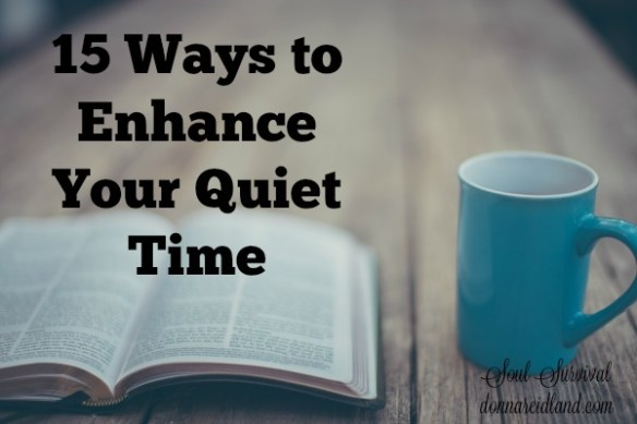 "15 Ways to Enhance Your Quiet Time - A quiet time, time with God, devotional time, prayer time ... all these phrases refer to something that we all seem to be striving to do better ... connect with God. I'm not here to lay down rules for having the perfect quiet time. For me at least, trying to make my time with God fit into some neat box has never worked. And honestly, I don't think God want us to find a ""system."" He wants us to grow in our relationship with Him."