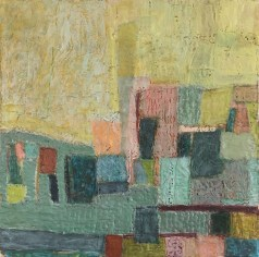 """""""City of Angels,"""" Encaustic, Paper, Oil Paint, on Board, 10""""x10"""""""