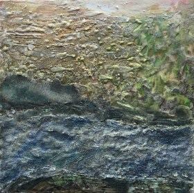 """Riverbank,"" Encaustic on Board, 10""x10"""