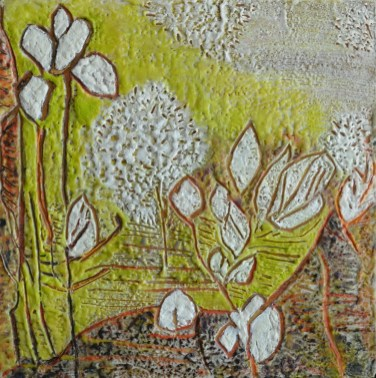 """""""Rockland Garden,"""" Encaustic and Paper on Board, 12""""X12"""""""