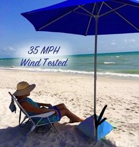 Beach umbrella tested at 35 mph wind