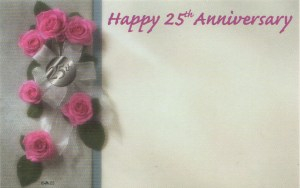 Happy 25th Anniversary - pink roses