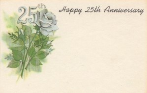 Happy 25th Anniversary - silver rose
