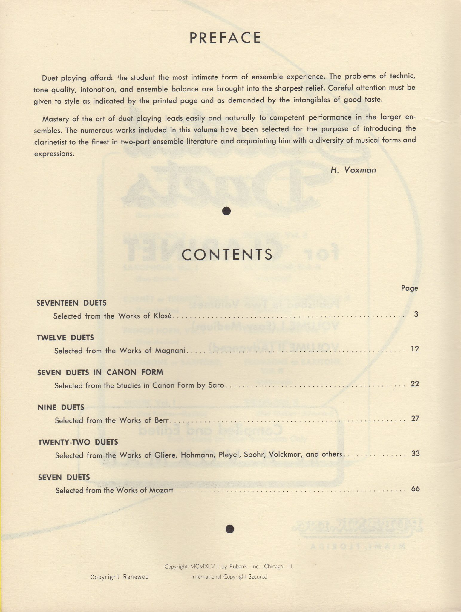 SELECTED DUETS FOR CLARINET, Vol  1 - H  Voxman, Rubank Educational Library  #137