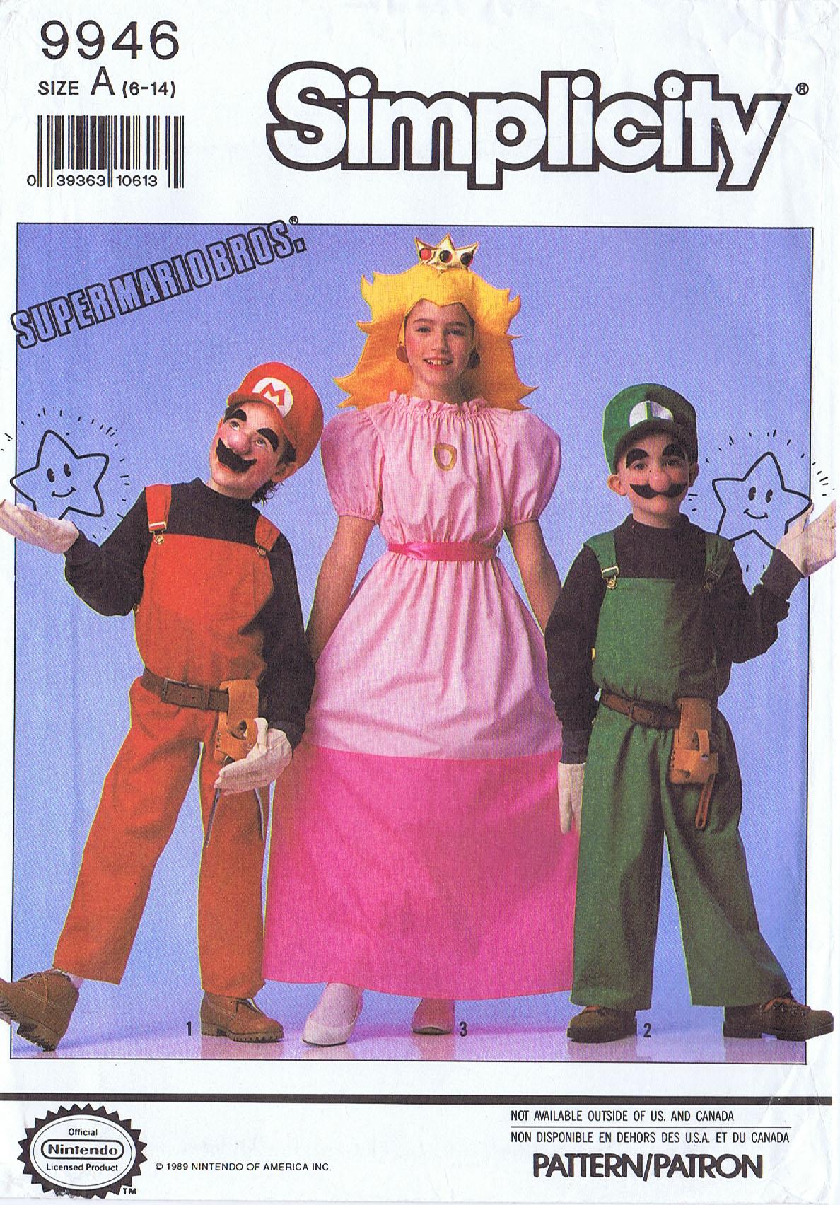 Mario Luigi Princess Peach Costume Simplicity 9946 Kids 6