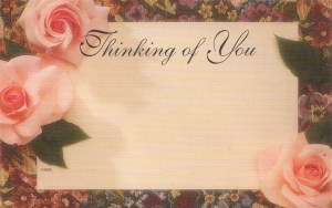 Thinking of You floral enclosure card - pink roses on tapestry