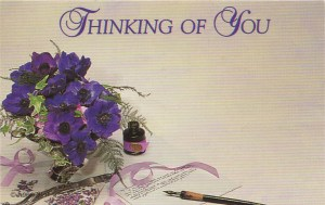 Thinking of You floral enclosure card - purple poppies