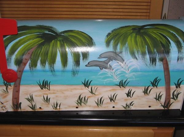 dolphin beach scene mailbox tropical