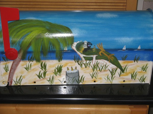 beach scene with parrot hand painted
