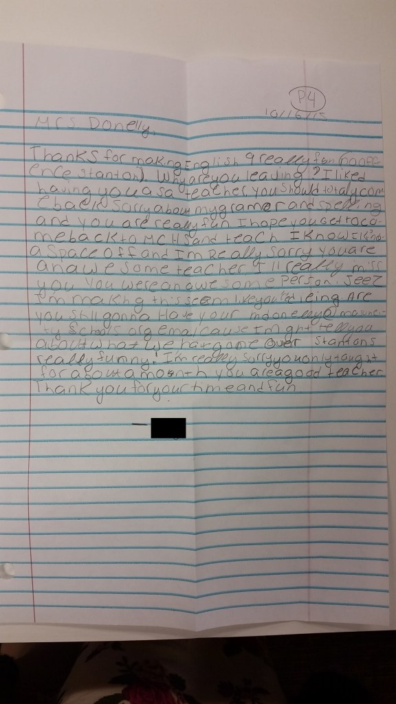 A silly and sweet note from one of my students in English 10.