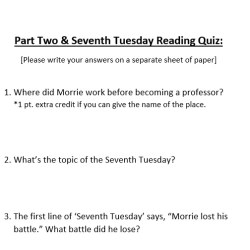 Pop reading quiz - checking for comprehension and assignment completion!