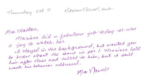 A note from a substitute teacher at Mason City High School, commenting on my student teaching performance.