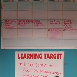 Classroom calendar and daily learning targets.