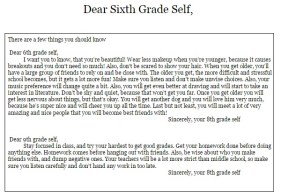 Writing letters to our sixth grade selves giving advice.