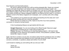 Letter to parents to introduce myself!