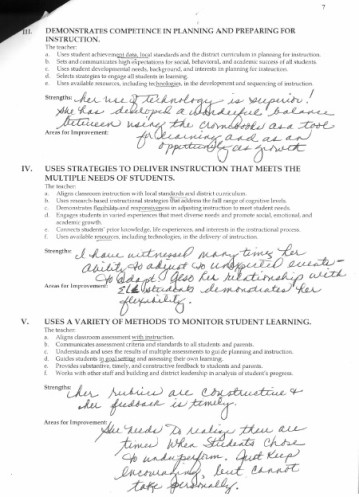 Evaluation of my student teaching performance, page 2