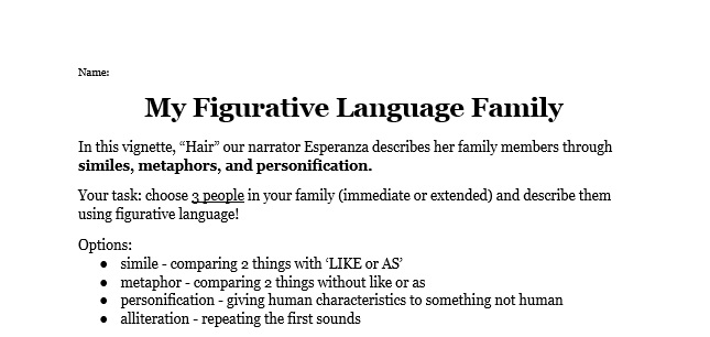 My Figurative Language Family – Miss Donnelly's Daily Apple