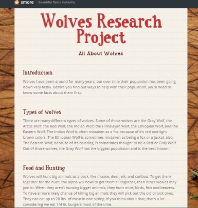 Smore: a resource for creating flyer templates for the Wolves Research Project.