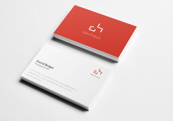 Image of business cards produced for newly rebranded company devhaus
