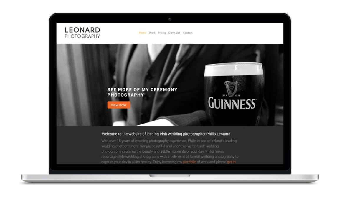 Image of website design for Irish Photographer Philip Leonard