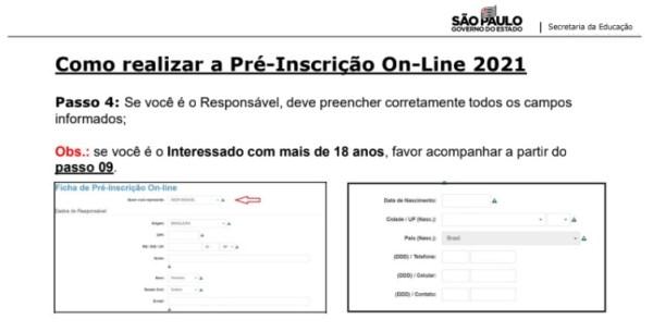 Captura de Tela 2021 03 25 às 11.18.05 Pré-Inscrição online 2021 para Matrícula Rede Pública de Ensino São Paulo
